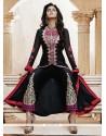 Black Bhagalpuri Silk Pant Style Salwar Kameez