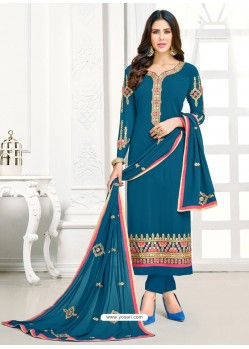 Teal Blue Georgette Embroidered Straight Suit