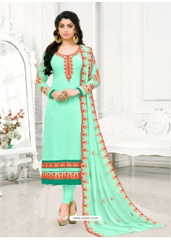 Sea Green Georgette Embroidered Straight Suit