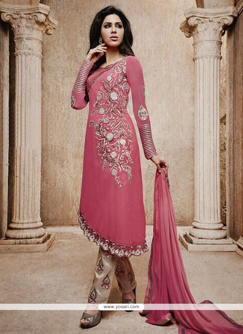 Modish Pink Bhagalpuri Silk Pant Style Suit