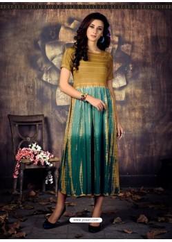 Marigold And Green Heavy Rayon Ombre Printed Readymade Kurti