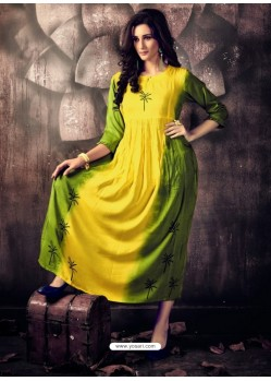Yellow And Green Heavy Rayon Ombre Printed Readymade Kurti