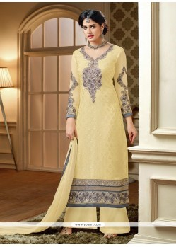 Light Yellow Embroidery Work Palazzo Suit