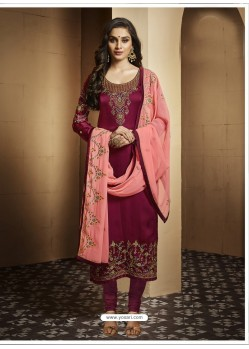 Maroon Satin Georgette Embroidered Designer Churidar Suit