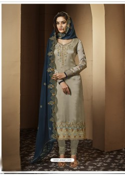 Taupe Satin Georgette Embroidered Designer Churidar Suit