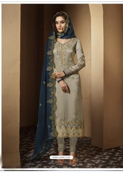 Taupe Satin Georgette Embroidered Designer Churidar Suit