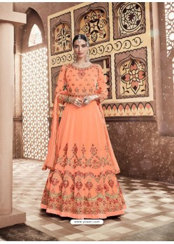 Orange Georgette Heavy Embroidered Designer Anarkali Suit