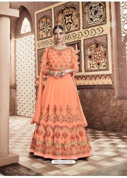 Orange Georgette Heavy Embroidered Designer Anarkali Suit