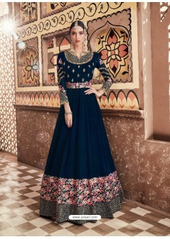 Peacock Blue Georgette Heavy Embroidered Designer Anarkali Suit