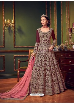 Deep Wine Silk Embroidered Designer Anarkali Suit