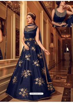 Navy Blue Bangalori Silk Embroidered Designer Anarkali Suit