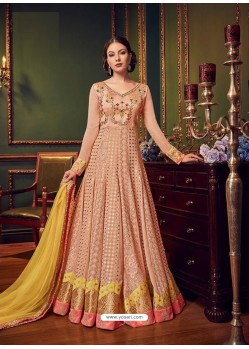 Peach Swiss Georgette Embroidered Designer Anarkali Suit