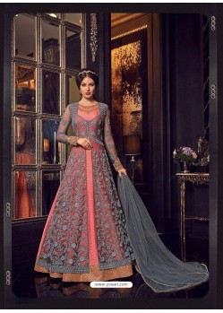 Grey And Peach Premium Net Embroidered Designer Anarkali Suit