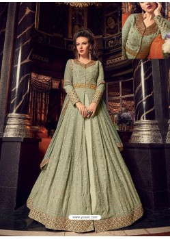 Green Swiss Georgette Embroidered Designer Anarkali Suit