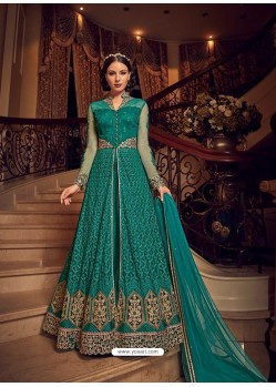 Teal Premium Net Embroidered Designer Anarkali Suit