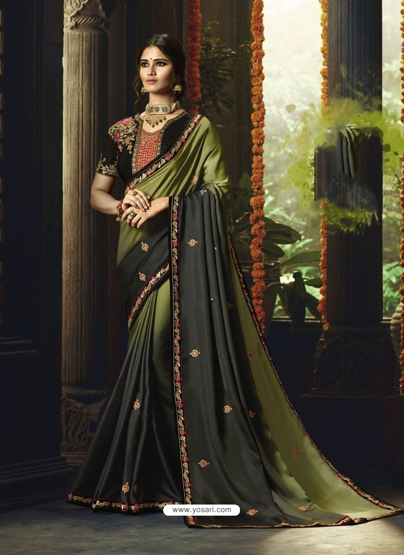 a9ad6734b4 Buy Mehendi Barfi Silk Embroidered Designer Party Wear Saree | Party ...