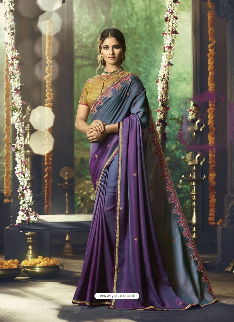 a0222e3769 Buy Pigeon And Lavender Barfi Silk Embroidered Designer Party Wear ...