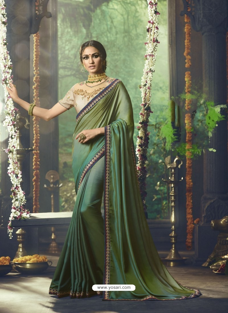71e784d5a8 Buy Mehendi And Green Barfi Silk Embroidered Designer Party Wear ...