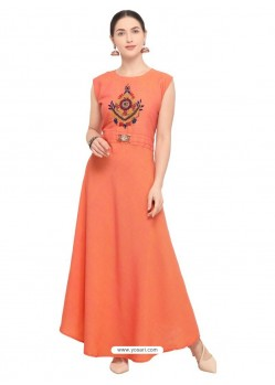 Orange Tapeta Satin Embroidered Long Kurti