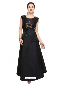 Black Tapeta Satin Embroidered Long Kurti