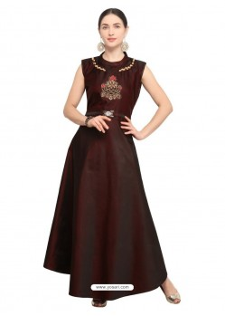 Coffee Tapeta Satin Embroidered Long Kurti