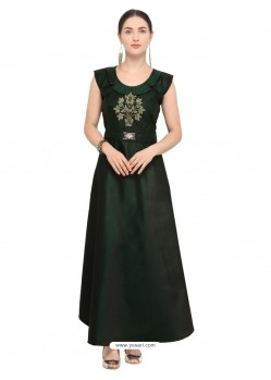 Feminine Dark Green Tapeta Satin Embroidered Long Kurti