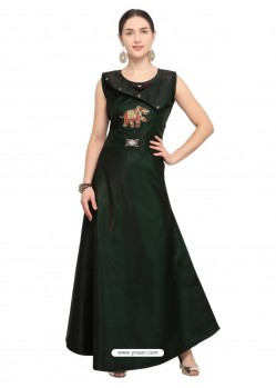 Dark Green Tapeta Satin Long Readymade Kurti