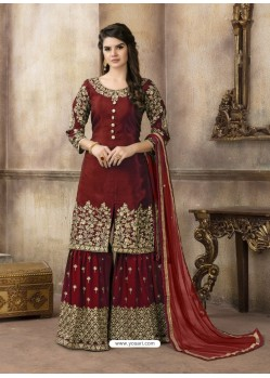 Maroon Pure Viscose Upada Silk Designer Sarara Suit