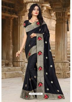 Black Vichitra Silk Resham Border Designer Saree