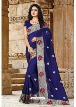 Navy Blue Vichitra Silk Resham Border Designer Saree