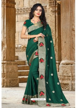 Dark Green Vichitra Silk Resham Border Designer Saree