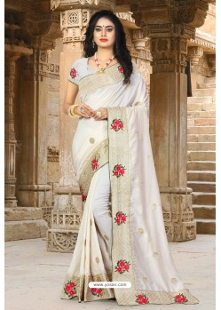 Off White Vichitra Silk Resham Border Designer Saree