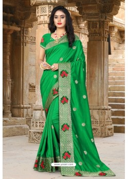 Forest Green Vichitra Silk Resham Border Designer Saree