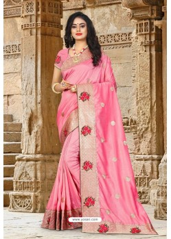 Light Pink Vichitra Silk Resham Border Designer Saree