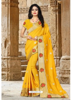 Yellow Vichitra Silk Resham Border Designer Saree