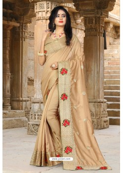 Beige Vichitra Silk Resham Border Designer Saree