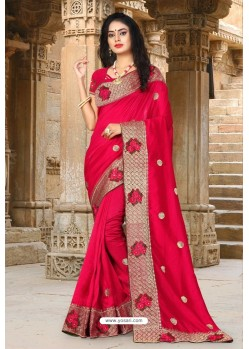 Red Vichitra Silk Resham Border Designer Saree