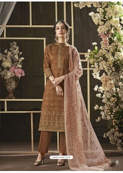 Brown Poly Cotton Foil Printed Straight Suit