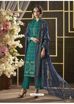 Teal Poly Cotton Foil Printed Straight Suit