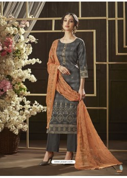 Dull Grey Poly Cotton Foil Printed Straight Suit