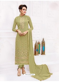 Olive Green Pure Georgette Full Embroidered Churidar Suit