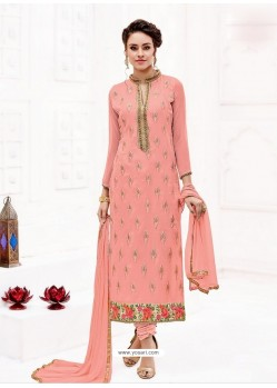Peach Pure Georgette Full Embroidered Churidar Suit