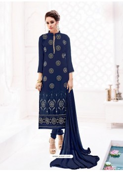 Navy Blue Pure Georgette Full Embroidered Churidar Suit