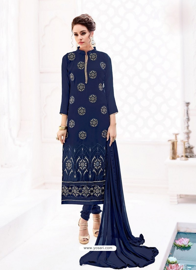 eb7e3e32570a Buy Navy Blue Pure Georgette Full Embroidered Churidar Suit ...