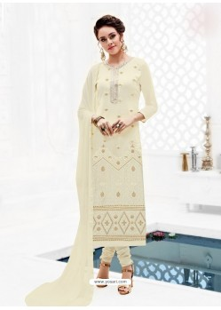 Off White Pure Georgette Full Embroidered Churidar Suit