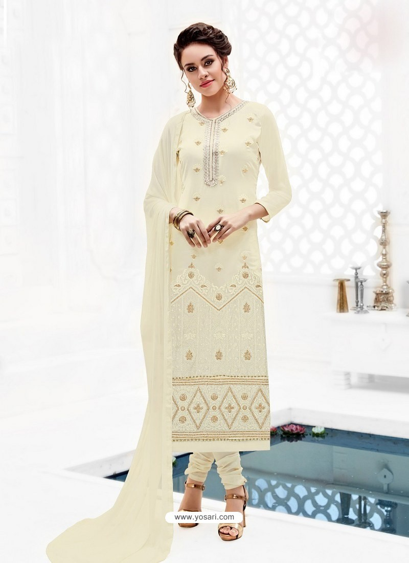 018aa7efbf19 Buy Off White Pure Georgette Full Embroidered Churidar Suit ...