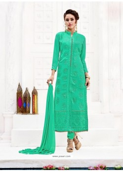 Jade Green Pure Georgette Full Embroidered Churidar Suit