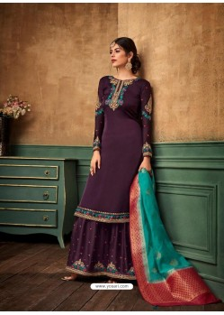Purple Satin Georgette Heavy Embroidered Designer Sarara Suit
