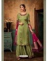 Olive Green Satin Georgette Heavy Embroidered Designer Sarara Suit