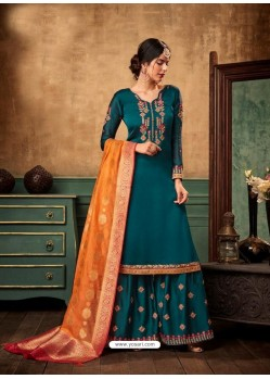 Teal Blue Satin Georgette Heavy Embroidered Designer Sarara Suit
